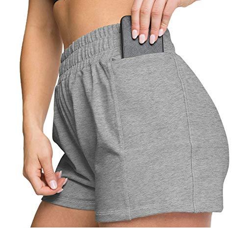 Womens Shorts with Pockets Athletic Running Shorts Elastic Waistband Grey L