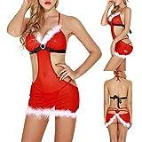 YOYHX Conjunto de lencería suave para mujer, 3 piezas, para disfraz de Santa Claus con vendas vendadas, rosso, XL