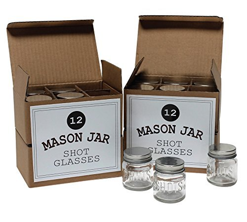 Mason Jar 2 Ounce Shot Glasses Set of 24 With Leak-Proof Lids - Great For Shots, Drinks, Favors, Candles And Crafts