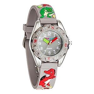 [チックタック] TICKTOCK キッズ腕時計 クオーツ アナログ表示 子供 ガールズ ボーイズ 恐竜 ウォッチ子供の日 入学 通学 入園 通園 新学期 誕生日 お祝い プレゼント (グレー)