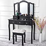 Vanity Set, Vanity Makeup Desk with Cushioned Stool 5 Drawers, Makeup Dressing Table with Tri-Folding Mirror Furniture Set for Girls Women, Black (Black)