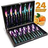 HOBO BuntesBesteck 24-teilig Besteck Set für 6 Personen aus rostfreiemEdelstahlmit 6*Messer/Gabeln/Löffel/Kaffeelöffel als Geschenkspülmaschinefest(Regenbogen)