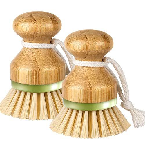 2PCS Bamboo Palm Dish Scrub Brush,