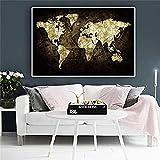 VGSD Mapa del Mundo En Cartel De Dinero, Carteles En Blanco Y Negro E Impresiones Lienzo Pintura Arte Pared Imagen, para Niños Habitación-50X75 Cm