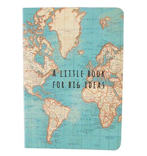Sass & Belle Ideen-Notizbuch, Vintage-Design mit Weltkartenmotiv, mehrfarbig