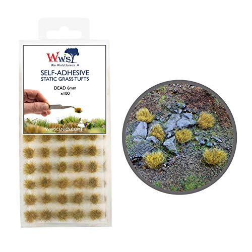War World Scenics Self Adhesive Static Grass Tufts x 100 – Dead, 6mm – Model Railway Wargame Scenery Railroad Modelling Diorama Miniature Hobby Tabletop
