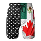 Jiger Men USA Canada Mexico Flag Swim Trunk Board Short Beach ShortsL