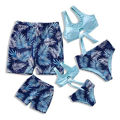 IFFEI Family Matching Swimwear Two Pieces Bikini Set 2020 Newest Printed Ruffles Mommy and Me Bathing Suits Girls: 8-9 Years Blue