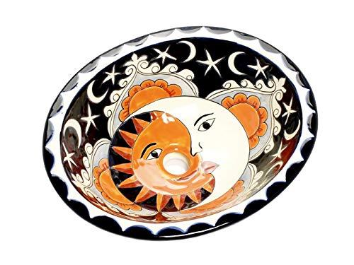 Dafne – Kleines buntes Waschbecken, Mexikanische Oval Einbauwaschbecken | Klein Keramik Talavera Waschbecken aus Mexiko | Ideal fur Badezimmer, wc, Gästebadezimmer