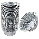 vaschette in alluminio rotondo per barbecue, in alluminio, 50 pezzi, usa e getta, in pellicola di alluminio, per dolci, per cuocere, cuocere, piccoli contenitori da 12 x 10 cm, 4 cm, 250 ml