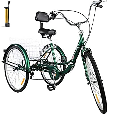 Bkisy Tricycle Adult 24'' 7-Speed 3 Wheel Bikes for Adults Three Wheel Bike for Adults Adult Trike Adult Folding Tricycle Foldable Adult Tricycle 3 Wheel Bike Trike for Adults (Green)