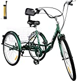 Bkisy Tricycle Adult 26'' 7-Speed 3 Wheel Bikes for Adults Three Wheel Bike for Adults Adult Trike Adult Folding Tricycle Foldable Adult Tricycle 3 Wheel Bike Trike for Adults (Green)