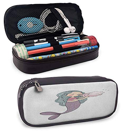 Mermaid Large Capacity Student Kids Stationery Pencil Pouch, for Pens, Pencil, Samsung Stylus, Tools, USB Cable and Other Accessories Multicolor