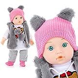 Kinderplay Poupée Bébé Poupee Qui Parle Mama Papa Modele KP4840 Taille 35 cm, Jouet Bebe Poupon Fille Bebe Taille 14''