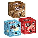 CaffeLuxe Podstars Paquete de variedades - Fresa tonta, chocolate descarado y vainilla alegre - Paquete de 30 - Batido saludable - Sin azúcar agregado - Vainas compatibles con Dolce Gusto para niños