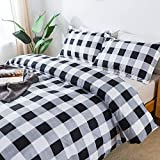 TEALP Queen Buffalo Plaid Check Plaid Duvet Cover Set - 3pcs Soft Microfiber Comforter Cover Black and White Farmhouse Matching Pillow Covers with Zipper Closure