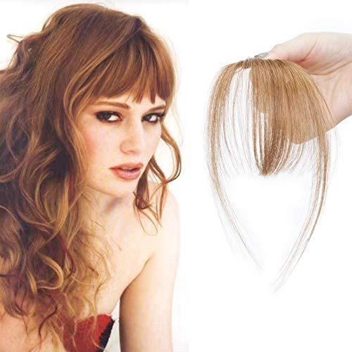 SEGO Frangia Capelli Veri Frangetta Clip Extension Human Hair Bang Invisibile Sottile 100% Remy #6 Castano