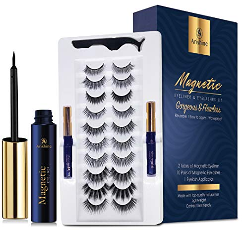 Magnetic Eyeliner and Lashes Magnetic Eyelashes Natural Look Kit False Lashes 10 pairs with Magnetic Eyelash Applicator Tool