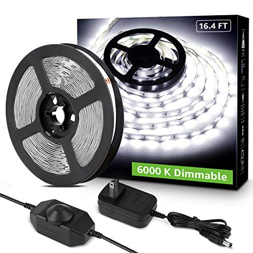 LE LED Strip Light White, 16.4ft Dimmable Vanity Lights, 6000K Super Bright LED Tape Lights, 300 LEDs SMD 2835, Strong 3M Adhesive, Suitable for Home, Kitchen, Under Cabinet, Bedroom, Daylight White