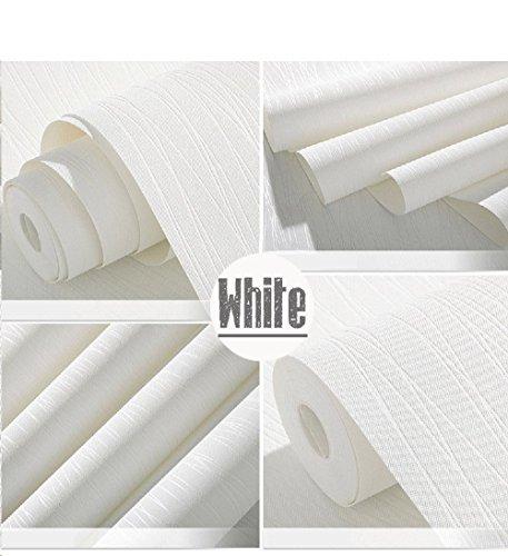 Papier peint TAMOP non-tissé et autocollant de style moderne avec texture fils 3D, pour salon, chambre, nurserie, décoration de mur et art mural - 53,3 x 500 cm (l x L) - Beige, blanc, 21 Inch(W) x197 Inch(L)