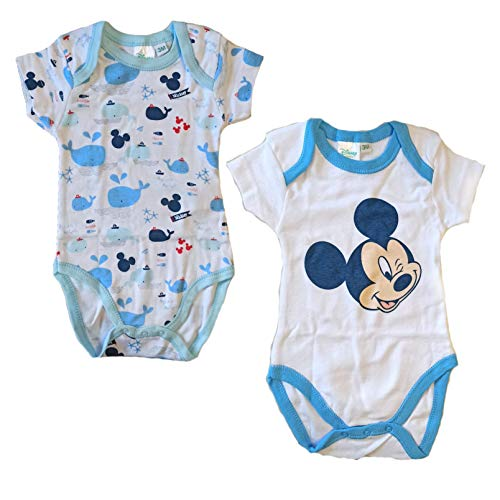 2 Body Neonato Mezza Manica in Puro Cotone Mickey Disney Art. WD101275 (9 Mesi)