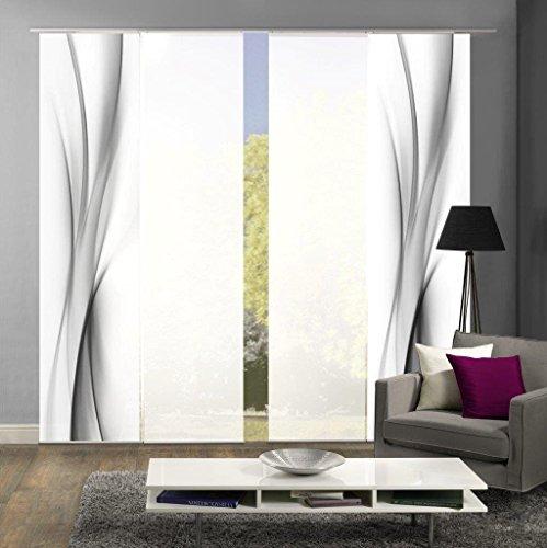 abitiamo< 94095 Flächenvorhänge 4er-Set UFA, in grau oder rot, Flächenvorhang Rochelle + Uni-Flächenvorhang ROM | Farbe des Sets: GRAU
