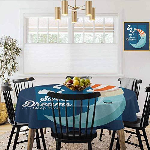 Mantel redondo, estilo moderno dibujado a mano, frase y detalles florales, color azul oscuro y blanco, ideal para mesas de buffet, fiestas, cenas festivas y más., poliéster, Multi14, Diameter 50'
