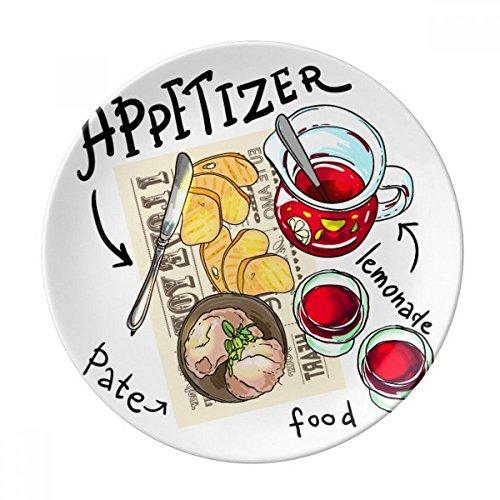 DIYthinker Lemonade Steak Amuse-Gueule France décoratif en Porcelaine Assiette à Dessert 8 Pouces Dîner Accueil Cadeau 21cm diamètre Multicolor