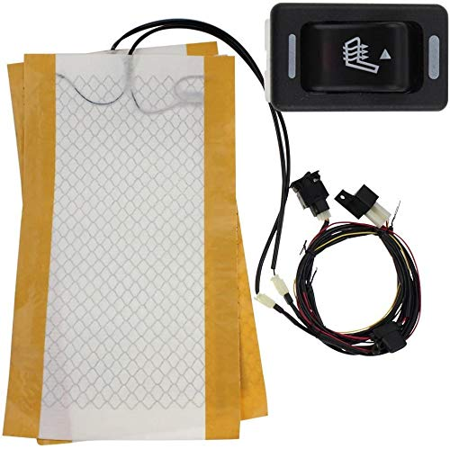 Motosupply 1 Seats 12V Universal Carbon Fiber Pattern Heated Seat Heater Pads 3 Setting HI-Off-LO Rectangle Switches