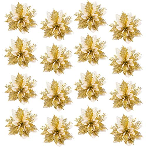 16pcs Christmas Glittering White Gold Flowers,Christmas Tree Ornaments,Artificial Flowers Poinsettia for Christmas Tree Ornaments(Gold White)