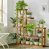 Soporte de Madera para Flores,Soporte de Bambú Estantería de Macetas Estante de Plantas Soporte Decorativo para Jardín con 4 estantes ,72 x 72 x 20 cm