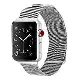 WareWel Compatible Apple Watch Band Magnetic Milanese Band for Apple Watch Series 7, 6, 5, 4, 3, 2, 1, SE for Men & Women Replacement Bands Mesh Apple Watch Bracelet Silver