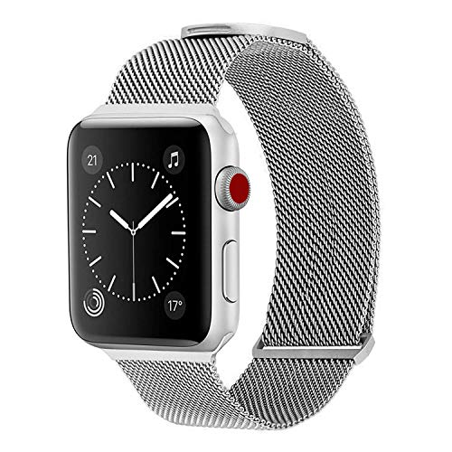WareWel - Stainless Steel Apple Watch Compatible Bands for Men & Women (Milanese Mesh Silver, 38/40)   Quick Install Replacement Apple Watch Bracelet Bands   Premium Finish & Sturdy Closure