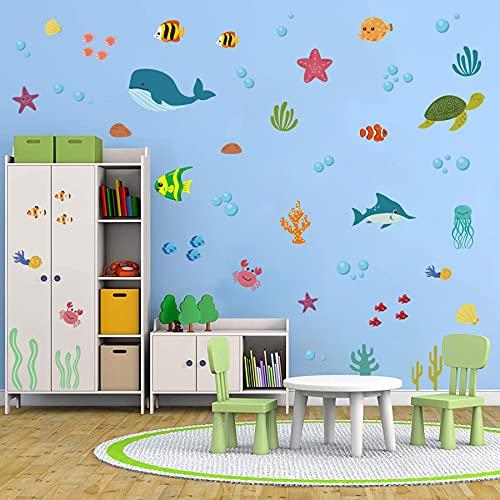 ANHUIB 91 adhesivos de pared multicolor para cuarto de baño, decoración de pared para habitación infantil, diseño de animales marinos