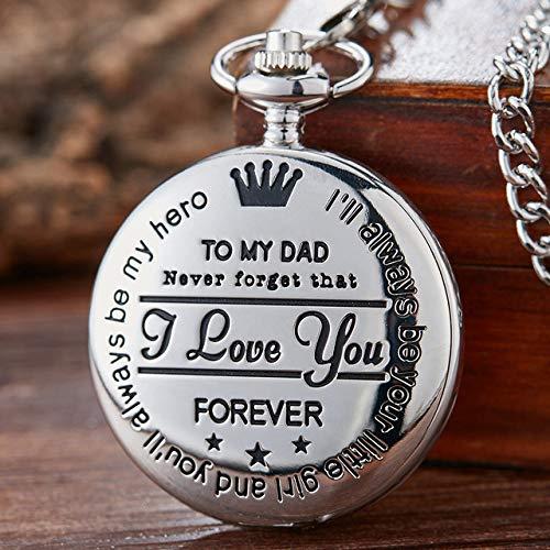 CAIDAI&YL Reloj de bolsillo para mi padre I LOVE YOU con grabado láser de cuarzo para papá, cumpleaños, día del padre, regalo de cadena para regalo de cumpleaños, color plateado