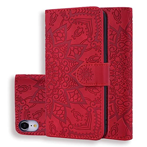 XIXI telefoon kalf patroon dubbel vouwen ontwerp reliëf lederen hoesje met portemonnee & houder & kaartsleuven voor iPhone XR (zwart) volledige bescherming van het lichaam, Rood