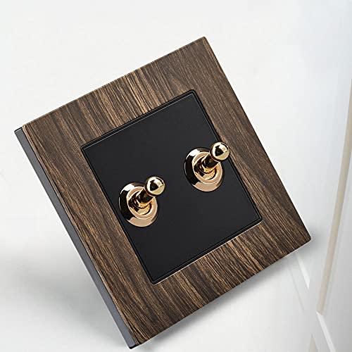 Yoaodpei Llavea Negra Retro imitación Wood86 Tipo Palanca de latón Interruptor Tipo 1-4 GAND 2 Vía One Doble Control Lámpara Interruptor de Luz de Pared Golden Retro Palanca Palanca Placa de Aluminio