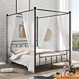 Queen Canopy Bed 4 Posters Platform Bed Frame with Headboard and Footboard, Metal Canopy Bed No Box Spring Needed, Black
