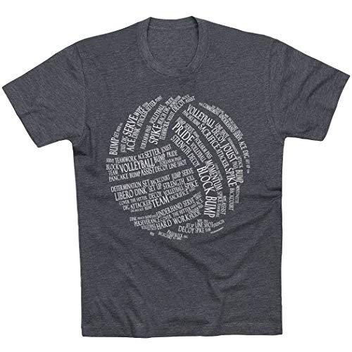 ChalkTalkSPORTS Volleyball Words T-Shirt | Volleyball Tees Charcoal | Adult Medium