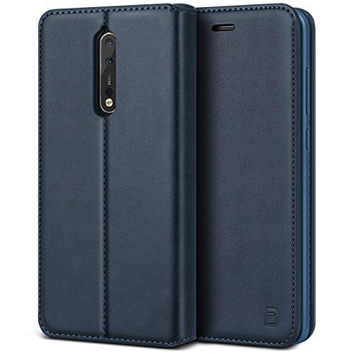 BEZ Hülle für Nokia 8Handyhülle, Tasche Kompatibel für Nokia 8 Hülle Case Schutzhüllen aus Klappetui mit Kreditkartenhaltern, Ständer, Magnetverschluss, Blau Marine