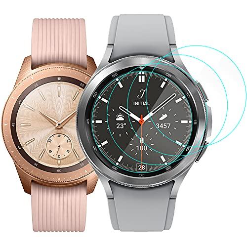 CAVN Kompatibel mit Samsung Galaxy Watch 42mm /Galaxy Watch 3 41mm Schutzfolie Panzerglas [4-Stück], 9H Kratzfest Gehärtetes Panzer Glas Schutz Bildschirmschutzfolie für Galaxy Watch 3 41mm /Galaxy 42mm
