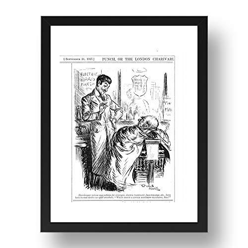 Period Prints Barber sugiere desgarrar los ojos, hombre rechaza tratamientos, Barber shop...