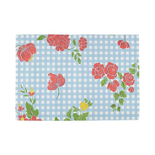 ATONO Vintage Flowers On Blue Plaid Placemat Kitchen Table Lunching Plate Mats Double-Sided Use [1 PCS 12X18 Inch] Non-Slip Washable Dining Insulation Pads