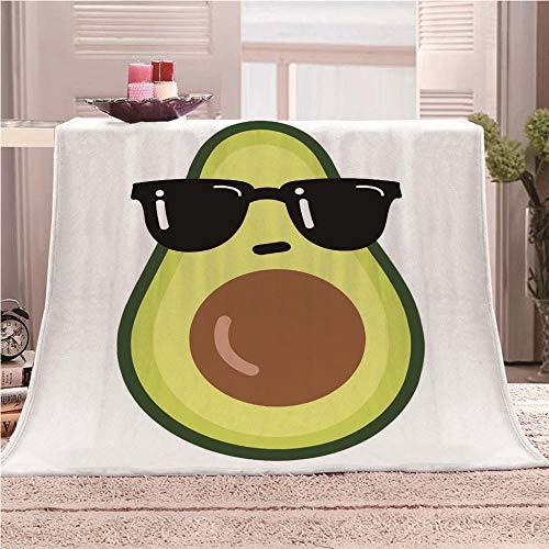 QHDIK Manta de Forro Polar Aguacate con Gafas de Sol Mantas para Sofa en Microfibra Estampado Mantas para Adulto Niño Manta para Cama 150 x 200 cm