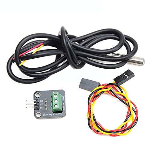 SODIAL DS18B20 Temperatura Sensor Kit Resistente al Agua 100CM Sensor Digital Cable Acero Inoxidable sonda Terminal Adaptador del modulo para Arduino