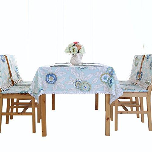 Uus Pastoral Style Nappe anti-eau Housse de table Polyester Nappe facile à nettoyer Superbe décoration de cuisine 130*180cm Red