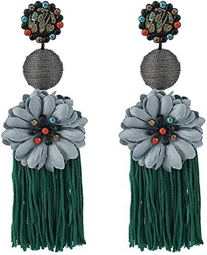 NC110 Pendientes Largos de Flecos con Flores Pendientes Colgantes de Diamantes Multicolores Simples y Salvajes-Verde