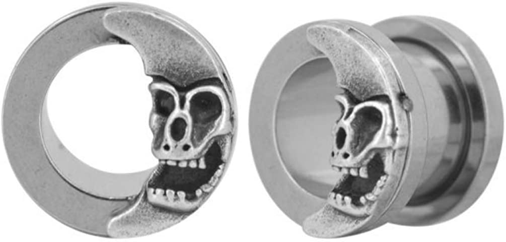 BODY Baltimore Mall DAZZ Pair 2G-16mm Crescent Surgical Skull Ear Max 53% OFF Steel Tunnels