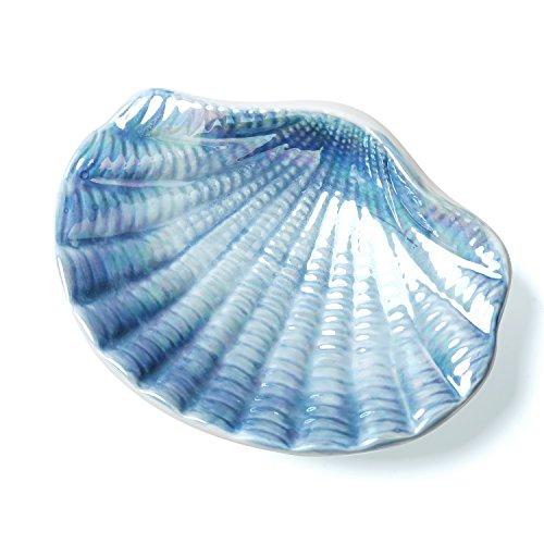 Jabonera de cerámica con diseño marino en forma de concha