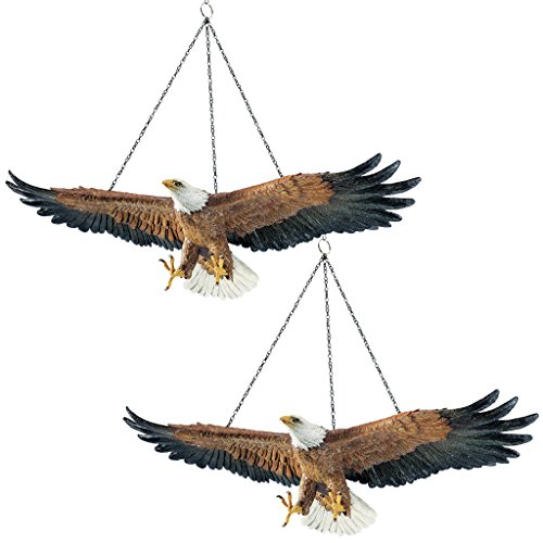 Design Toscano Flight of Freedom American Bald Eagle Hanging Bird Statues, 19 Inch, Set of Two, Polyresin, Full Color